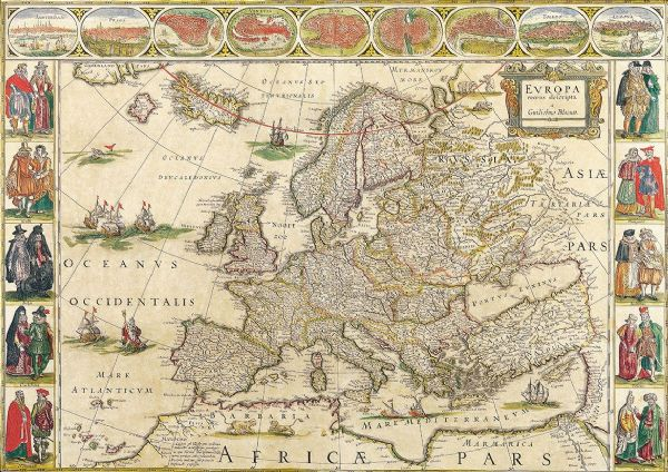 Blaeu, Willem: Map of Europe. Antique/Vintage 17th Century Map. Fine Art Print/Poster. Sizes: A4/A3/A2/A1 (003869)